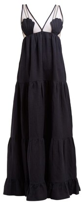 Adriana Degreas Marine Tulle Panel Linen Blend Maxi Dress - Womens - Navy