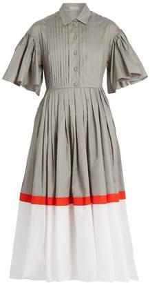 Vika Gazinskaya Tri-colour cotton-poplin dress