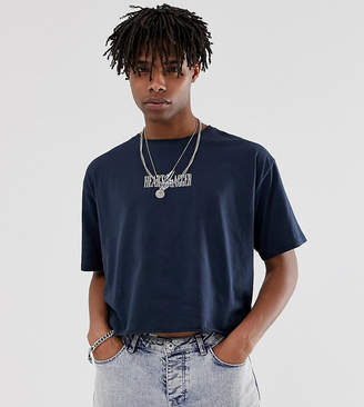 Heart N Dagger cropped t-shirt in navy with logo