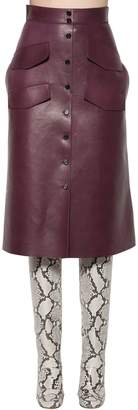 Rochas Leather Midi Skirt