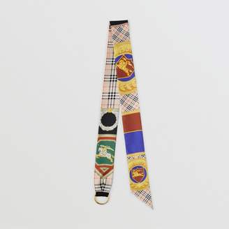 Burberry D-ring Detail Archive Print Silk Skinny Scarf