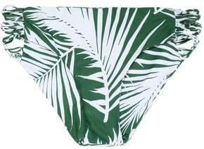 Mikoh Low-Rise Two-Tone Printed Cutout Stretch-Knit Bikini Briefs