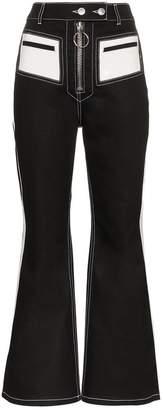 Ellery Pedestrian PVC pocket flared cotton blend trousers