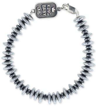 King Baby Studio Men's Hematite (8mm) Disc Bead Bracelet in Sterling Silver