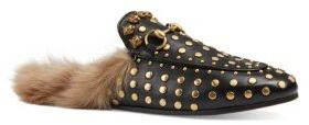 Gucci Princetown Studded Leather & Fur Loafer Slides $1,190 thestylecure.com