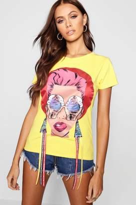 boohoo Jayne Face Print T-Shirt