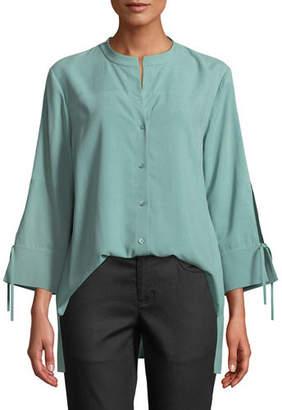 Eileen Fisher Plus Size Fuji Silk 3/4-Sleeve Blouse