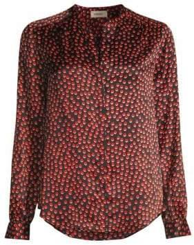 L'Agence Women's Bardot Dot Silk Shirt - Black Multi - Size Large