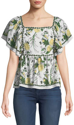 Max Studio Fluttered Sleeve Floral Blouse