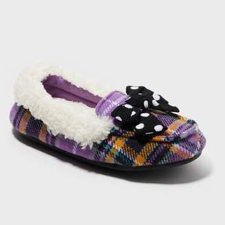 Dearfoams Girls' plaid Moccasin with Bow