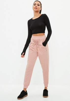 Missguided Active Pink Lace Front Joggers