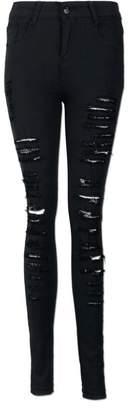 Billila Women Denim Skinny Ripped Pant High Waist Stretch Jeans Slim Pencil Trousers (XXL, )