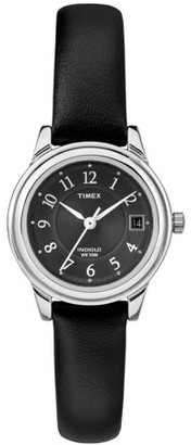 Timex Women's Porter Street Watch, Black Leather Strap