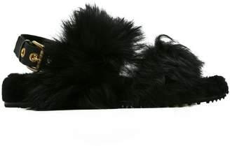 Car Shoe fur embellished slider sandals