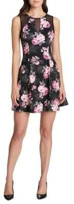 GUESS Floral-Print Fit-&-Flare Dress