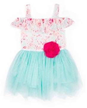 Little Lass Little Girl's Printed Off-The-Shoulder Tulle Dress