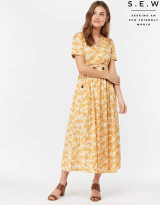 679865c33874e Monsoon Ridley Organic Cotton Palm Print Midi Dress