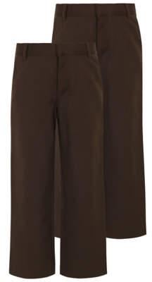 George Boys Brown Regular Leg School Trouser 2 Pack