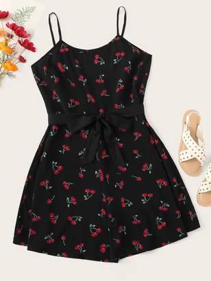 Shein Plus Self Tie Cherry Print Cami Romper