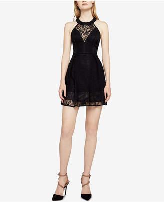 BCBGeneration Sleeveless Floral-Lace Halter Dress