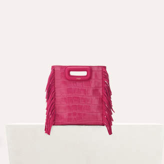 Maje Mini M bag with crocodile fringe