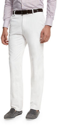 Peter Millar Raleigh Washed-Twill Pants, Gray $125 thestylecure.com