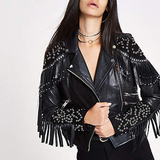 River Island RI 30 black studded biker leather jacket