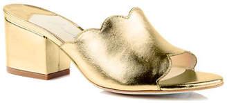 Isa Tapia Chiqui Metallic Block-Heel Slide Sandals