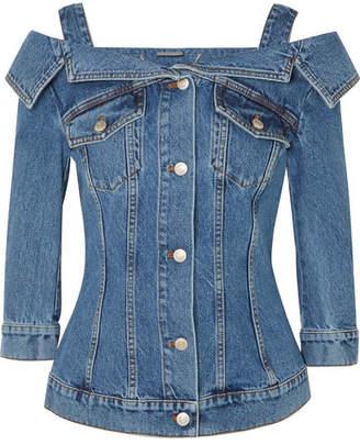 Alexander McQueen Cold-shoulder Denim Jacket