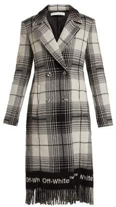 Off-White Off White Check Wool Blend Blanket Coat - Womens - Grey Print