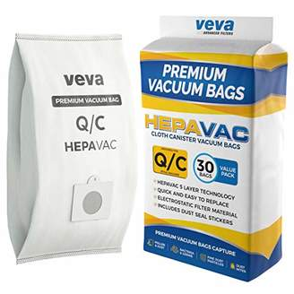 Sears VEVA 30 Pack Premium HEPA Vacuum Bags Type Q Cloth Bag Compatible with Kenmore Canister Vacuum Cleaners Replacement Style C