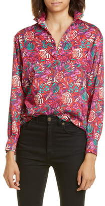 Roseanna Floral Print Snap Placket Blouse
