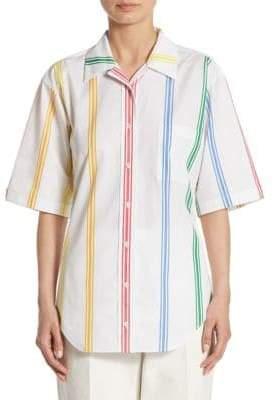 Thom Browne Polo Collar Cotton Blouse