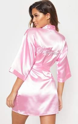 PrettyLittleThing Pink Satin Bridesmaid Robe