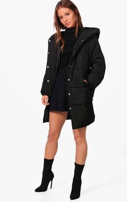 boohoo Petite Hooded Dip Back Padded Coat