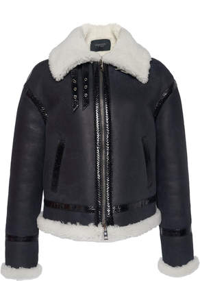 Giambattista Valli Leather Aviator Jacket With Shearling Collar And Water Snake Trim