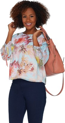 Vince Camuto Drawstring Sleeve Faded Bloom Blouse