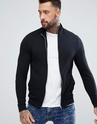 Asos Muscle Track Jacket In Black
