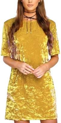 Tomteamell Womens Round Neck Slim Fit Tunic Shirt Mini Dress XXS