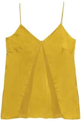 Charli Paneled Crepe De Chine And Washed-Silk Top
