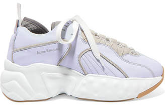 Acne Studios Manhattan Leather, Suede And Mesh Sneakers - Sky blue