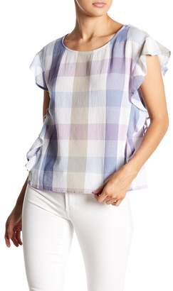Vince Camuto Ruffle Sleeve Plaid Blouse