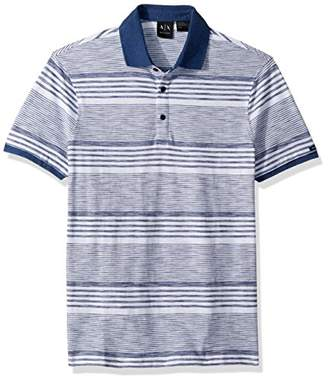 Armani Exchange A|X Men's Short Sleeve Striped Cotton Polo Shirt with Solid Collar