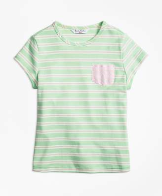 Brooks Brothers Girls Mixed Media T-Shirt