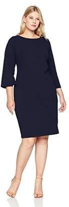 Calvin Klein Women's Plus Size Solid Three Quarter Split Sleeved Sheath