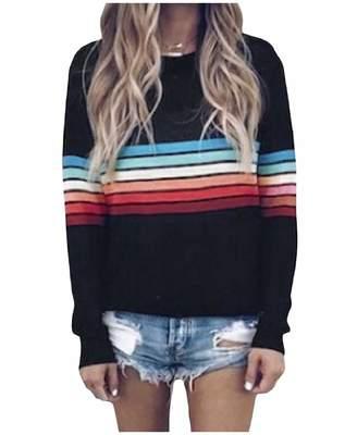 FieerWomen Fieer Womens Stripes Printed Long Sleeve Fall Winter Pullover Rainbow T-Shirt S