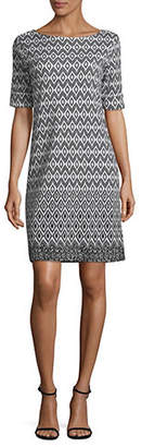 Karen Scott Ikat Sun Elbow-Sleeve Shift Dress