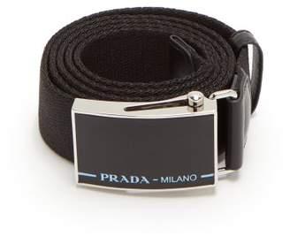 Prada Leather Trimmed Logo Buckle Belt - Mens - Black