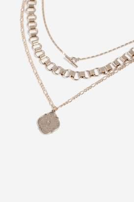 Topshop Coin T-bar Multi Row Necklace