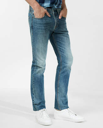 Express Slim Straight Medium Wash Raw Cut Hem 100% Cotton Jeans